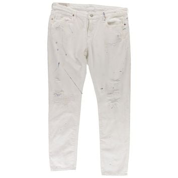 Polo Ralph Lauren Womens White Wash Splatter Painted Boyfriend Jeans