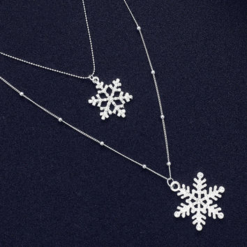 2016 New Tiny Silver Long Chain Necklace Beaded Chain Crystal Snowflake Pendants Charm Double Layered Tier P1326