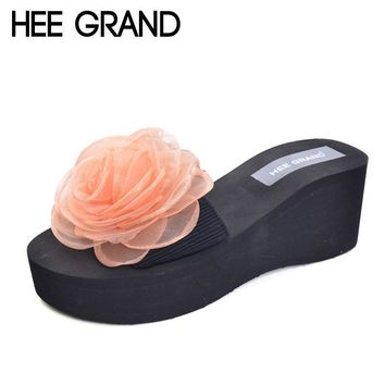HEE GRAND Women's Slippers For Summer Floral Style Platform Wedges Casual Slip On Women Shoes Beach Slides Shoes Woman XWT637