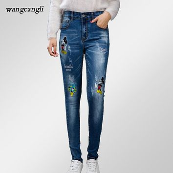 elasticity skinny jeans women boyfriend jeans with embroidery femme Mickey Donald Duck mid waist Skinny fashion sexy harem pants