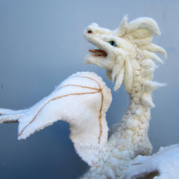 Dragon sculpture, needle felted fantasy creature, white dragon, posablesoft sculpture MADE TO ORDER