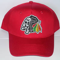 Black Hawks Baseball Hat Cap, with Embroidered GLOW in the DARK Skull (Red)