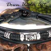 B-598 Finely Made Genuine Leather Red Tiger's Eye Stone Men Leather Bracelet.