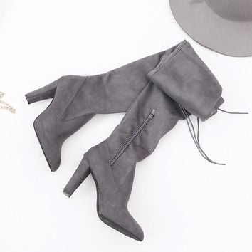 Hot Deal On Sale High Heel Winter Pointed Toe Stylish Stretch Boots [47583264775]