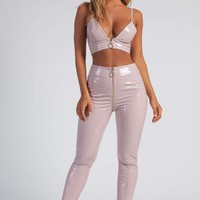 Madison Latex Zipper Front Pants - Baby Pink