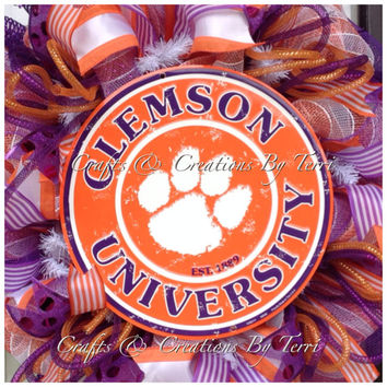 Clemson Wreath - Clemson Tigers Wreath - Tigers College Football Wreath - Football Wreath - Deco Mesh Wreath - Door Decor - Ready To Ship
