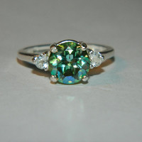 Peridot green mystic crush ring white topaz accents