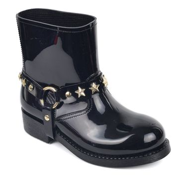 Valentino Womens Patent Leather Star Studded Harness Rain Boot