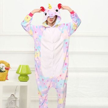 Star Unicorn Kigurumi Onesuit Costume Jumpsuit Soft Fancy Carnival Onepiece Animal Cosplay for Women Girl Adult Kid Home Wear