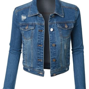 Medium Wash Distressed Cropped Denim Jacket