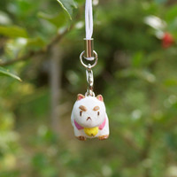 Bee & Puppycat phone charm with lobster clasp strap