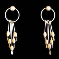 Long Dangle Earrings, In Tarnished Silver Tone, Boho Jewelry