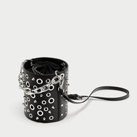 BUCKET BAG WITH EYELETS AND CHAIN DETAIL
