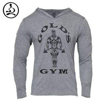 DCK7YE Mens gym clothing Golds Gym Hoodies Bodybuilding Sweatshirt Men Sports Suit Long Sleev