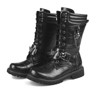 Trendy Wear Tall Best Seller Padded Biker Military Chain Hunting Cowboy Boots Men Winter Bandage Internal Height Increase