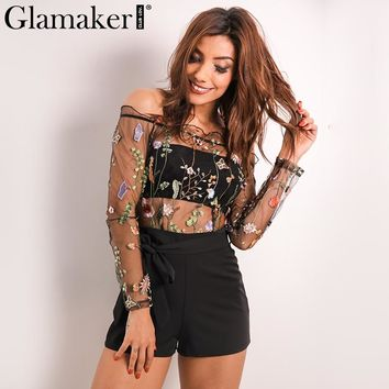 Glamaker Embroidery floral jumpsuit romper Summer off shoulder mesh jumpsuit women transparent party jumpsuit overalls