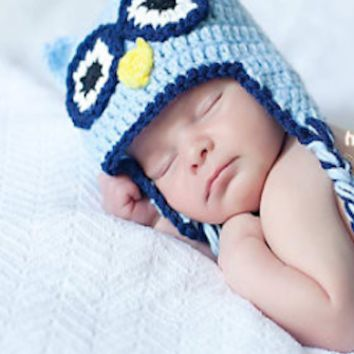 Light And Dark Blue Crochet Owl Hoot Baby Hat - CCA45