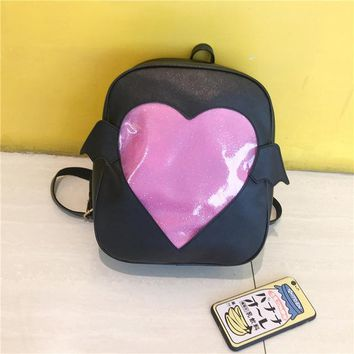 Clear Backpacks popular MSMO 'Ita-bag' Glitter Clear Flap Wing Backpack Japan Harajuku Girls Kawaii Bling Transparent Love School Bag Gift AT_62_4