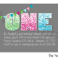 First Birthday Green, Pink and Blue Polka Dots and Grey Background Design Printable Birthday Invitation