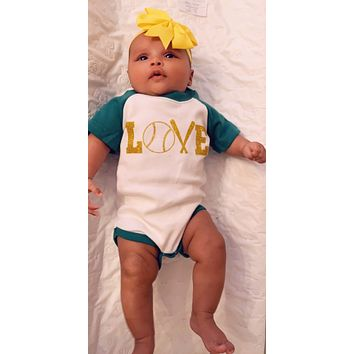 Baseball Love Short Sleeve Onesuit - Pick Your Colors - Mia Grace Designs