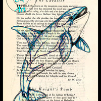 White Blue Killer Whale Art Beautifully Upcycled Vintage Dictionary Page Book Art Print, Sea Life Print