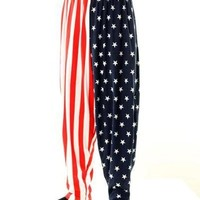 BAGGY GYM WORKOUT PANTS-USA FLAG PRINT-SMALL