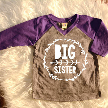Big Sister Shirt Little Sister Shirt Personalized Shirt Sibling Shirts Sister Shirts Pregnancy Announcement Baby Announcement Shirt #44