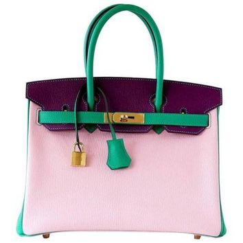 Hermes Birkin 30 Bag Tri-Color Rose Sakura Anemone Bamboo Chevre Gold
