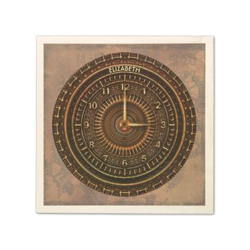 Antique Retro Steampunk Rusty Art Deco Clock Napkin