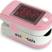 CMS 500DL Generation 2 Fingertip Pulse Oximeter Oximetry Blood Oxygen Saturation Monitor with silicon cover, batteries and lanyard (Blushing Pink)