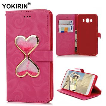 YOKIRIN For Samsung Galaxy J5 2016 Case Flip Wallet Leather Card Cover  Luxury Glitter Liquid Quicksand For Galaxy J5 (2016)