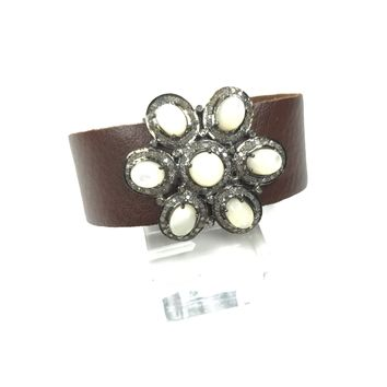 Mother of Pearl & Diamond Flower Leather Bracelet