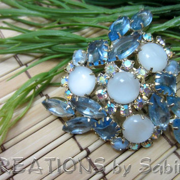 German Vintage Rhinestone Brooch / blue white aurora borealis white milk glass / gold tone elegant fancy sparkly classy FREE SHIPPING (181)