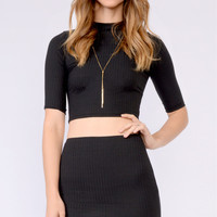 Black High Waisted Ribbed Skirt