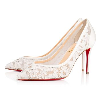 NIB Christian Louboutin Neoalto 85 White Lace Mesh Wedding Pump Heel 34 $795