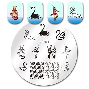 Round Nail Stamping Plate Geometry Catcher Feather Ballet Swan Dream Flame Flower Manicure Nail Art Image Template