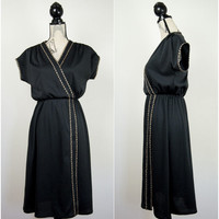 Womens Vintage Sylvan Black Midi Wrap Dress Gold Braiding UK 14