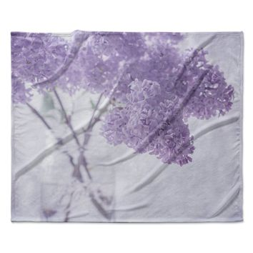 "Suzanne Harford ""Lilacs"" Purple Floral Fleece Throw Blanket"