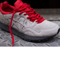 """ASICS GEL LYTE ""TRENDING Sneaker running shoes  Sports Shoes  Gray -red shoelace"