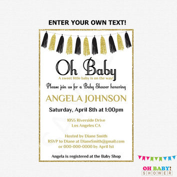 Black and Gold Baby Shower Invitation, Editable Baby Shower Invitation, Girl or Boy Baby Shower, Printable Oh Baby Shower Invitation, TASBLG