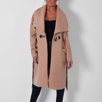 Reuval Camel Brown Celeb Inspired Coat | Pink Boutique