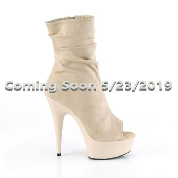"Delight 1031 Beige Slouchy Ankle Boot 6"" High Heel Shoe Sizes 5-12 Pre-Order Now"