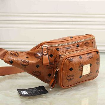 MCM Unisex Fashion Letter Logo Print Chest Bag Messenger Bag Waist Bag