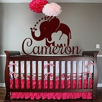 Wall Decals Personalized Name Decal Vinyl Sticker Boy Nursery Room Elephants Decor Home Bedroom Interior Design Art Mural MN639