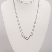 Pointed Sisters Silver Layered Necklace