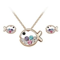 eFuture(TM)1Set(3Pcs) Colorful Fish Rainbow Colored Crystals Gold Tone Necklace Earrings Set with Keyring