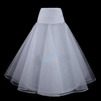 New Wedding Dress/Bride Gowns Petticoat Underskirt Slips 1 Hoop A-Line White hot  isfang (Color: White)