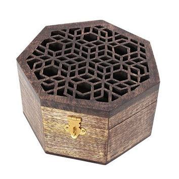"Wooden Jewelry Keepsake Box Storage Organizer Hand Carved Walnut Wash, 6"" L X 6"" W X 3.5"" H"
