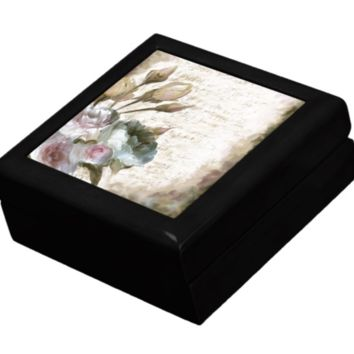 Keepsake/Jewelry Box - Music Sheet with Flowers - Lacquer Box