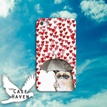 Grumpy Cat Umbrella heart love funny cute tumblr Custom iPhone Case for iPhone 4 and 4s and iPhone 5 and 5s and 5c Case